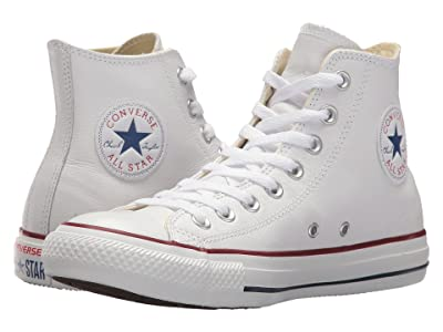Converse Chuck Taylor(r) All Star(r) Leather Hi (White Leather) Classic Shoes