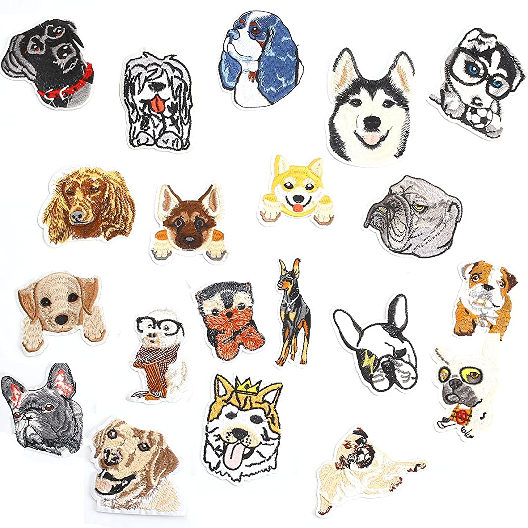 20 PCS Dog Puppy DIY Embroidered Appliques Patch Patterns Sew Iron on Badge Patch for Cloth Decoration Father's Day Gifts