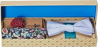 Original Penguin 男式 3 件套图案领带,方形口袋和翻领别针盒,蓝色,均码