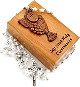 First Holy Communion Mahogany Rosary Box Gift Set Includes White Communion Rosary with Chalice Centerpiece and Two Piece Communion Laser Cut Rosary Wood Box with Communion Chalice 3D Design