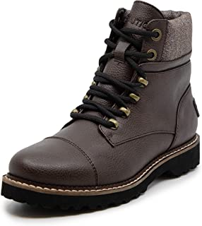 Nautica Womens Hiking Boot with Padded Collar Lace-Up Cap-Toe Dress Ankle Bootie