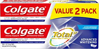 Colgate Total Advanced Whitening Toothpaste with Fluoride, Multi Benefit Toothpaste with Sensitivity Relief and Cavity Pro...