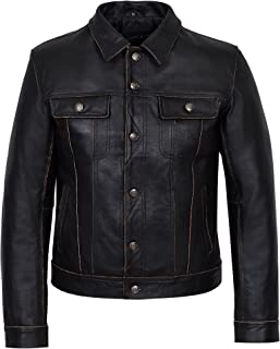 Trucker New Mens Black Buff Cowhide Classic Western Real Soft Genuine Leather Jacket 1280