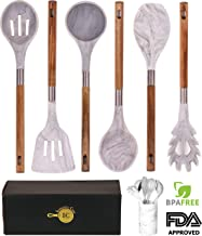 BRAND NEW! Marble Silicone Kitchen Utensil Set by Integrity Chef with Utensil Holder - Gorgeous Kitchen Utensils Cookware Set With Premium Acacia Wood Handles   Cooking Utensils Wedding Registry Gift