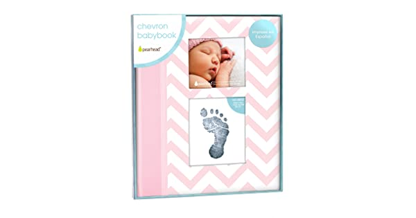 Pink Pearhead Spanish Language Version Chevron Keepsake Baby Memory Book in Spanish with Clean Touch Ink Pad