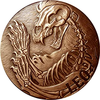 SkullCoins LEO - 2015 Memento Mori Zodiac Series 1 Oz Antique Finish COPPER Round - Low Mintage of Only 2000 Pieces