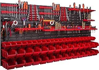 Système de rangement mural - 170 x 78 cm - Support à outils - 50 pièces Étagère de rangement modulable pour outils avec bo...