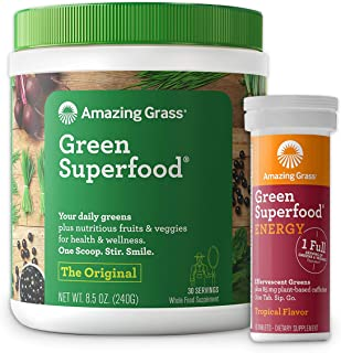 Amazing Grass Superfood Bundle - Original Superfood Greens Powder & Energy Drink Tablets, Tropical Flavor, 30 Servings
