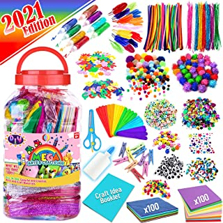 FunzBo Arts and Crafts Supplies for Kids - Assorted Craft Art Supply Kit for Toddlers Age 4 5 6 7 8 9 - All in One D.I.Y. ...