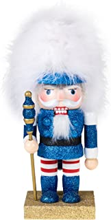 Clever Creations Soldier Nutcracker Blue Glitter Nutcracker with Tall White Hair | Perfect for Shelves and Tables | Collectable Festive Christmas Decor | 100% Real Wood | 10