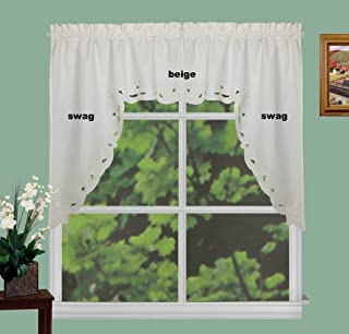 Creative Linens Lace Cutwork Kitchen Curtain Valance, Tiers or Swags Ecru Beige (60