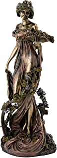 Top Collection French New Art Nouveau Vinery Statue - Hand Painted Collectible Beautiful Lady Sculpture in Premium Cold Cast Bronze - 10.75-Inch Alphonse Mucha Figurine Collection