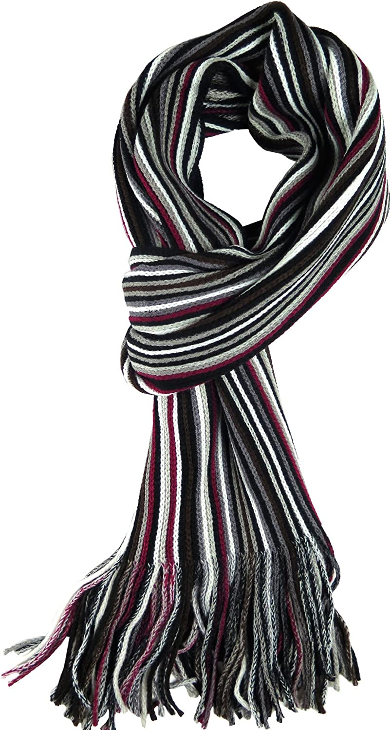 Knit Winter Scarf In 8 Colors, Warm And Soft With Stylish Stripes By Debra Weitzner