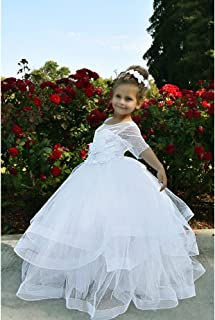 b1f3a0ece47 TriumphDress Big Girls White Polka Dotted Tulle Miranda Flower Girl Dress 8  10