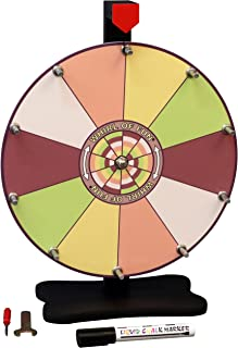 Whirl of Fun Spinning Prize Wheel 12 Inch-Tabletop with Stand, 10 Color Slots, Customize Erasable Whiteboard Surface, Sorbet Colors, Portable, Tools Included, Made in USA