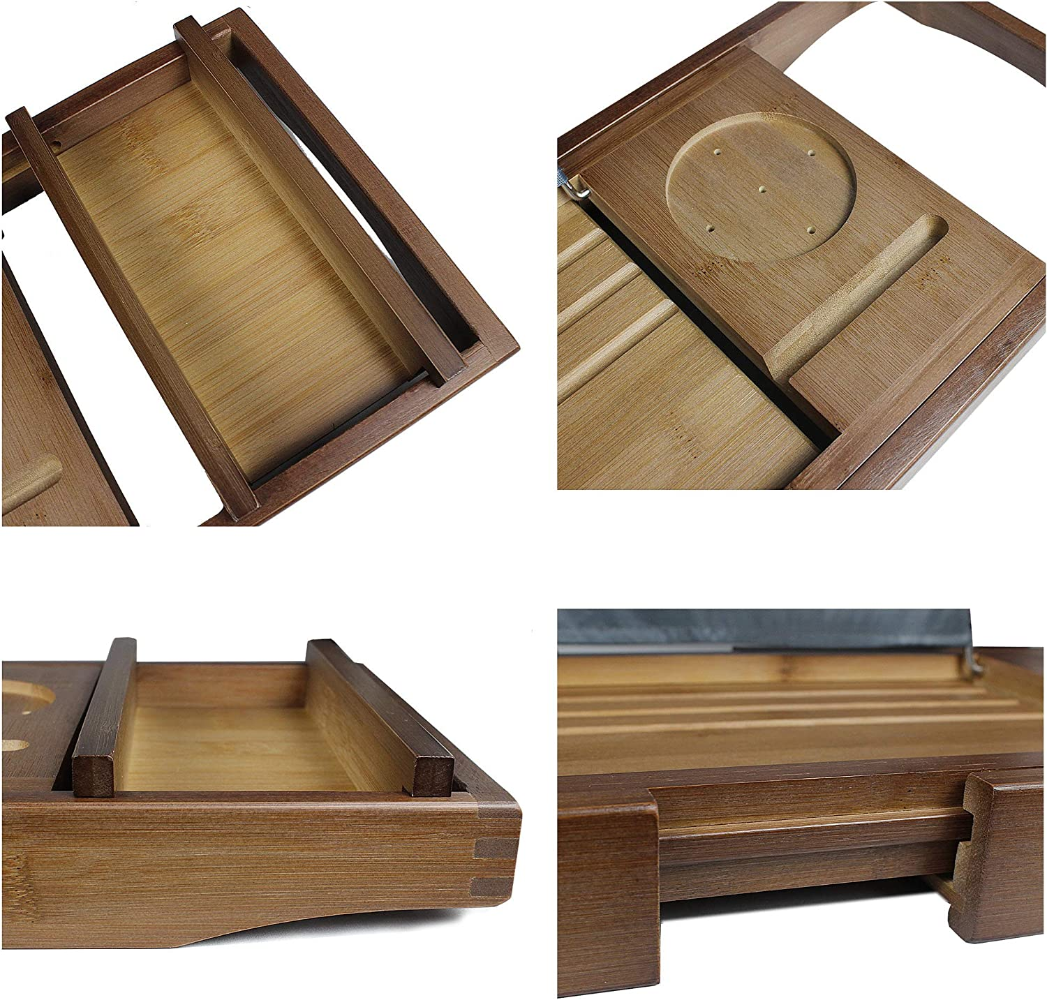 SMIBUY Bamboo Bathtub Caddy Tray-Expandable Bath Table Over Tub with Wineglass Book /& Free Soap Holder Black