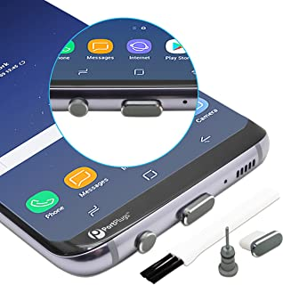 PortPlugs - USB C Aluminum Dust Plug Set - Compatible with Samsung s10, s9, s8, Note - Charging Port and Headphone Jack - Includes Holders and Cleaning Brush (Gun Metal)