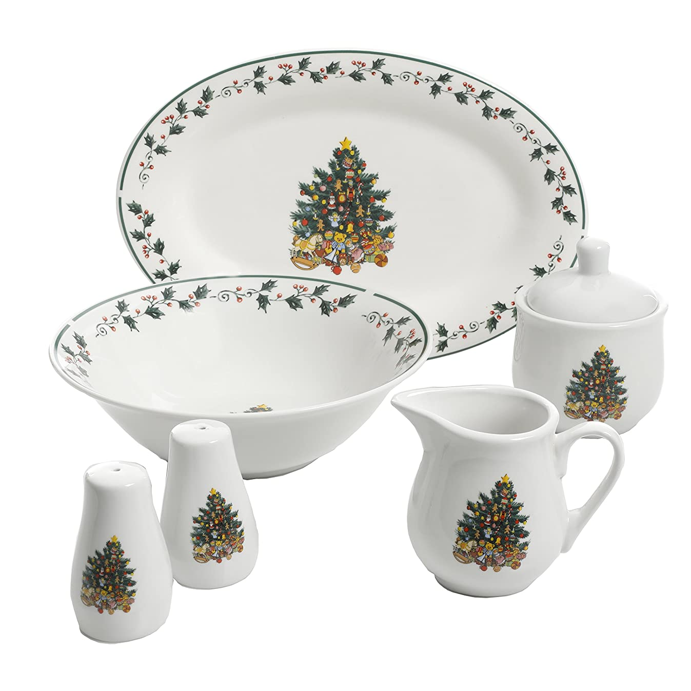 Gibson Home 99826.07R Christmas Tree Trimming, 7 PC Serving Set, Holiday