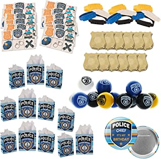 120 piece Police Party Supplies Birthday Favors bundle for 12 people