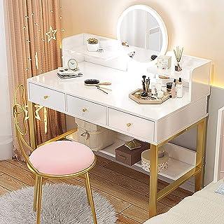 Tocador de Dormitorio - Espejo con Luces LED Mesa de Maquillaje Blanca con cajones y Silla de Mariposa Juego de Muebles de tocador Moderno, 80 cm / 100 cm