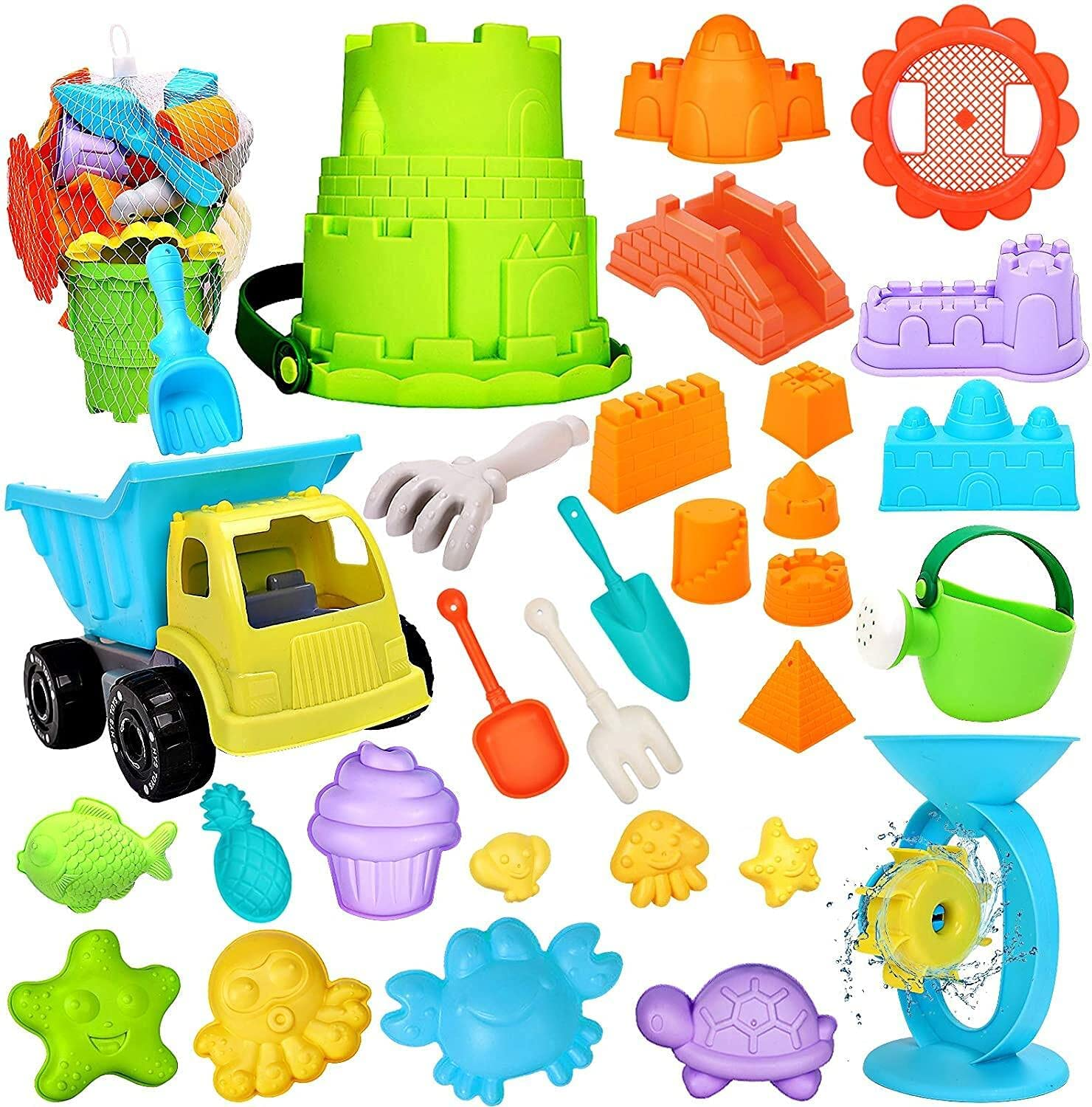 RichSmile 32Pcs Kids Beach Sand Toys Set Free Shipping New with Bag Very popular Mesh Includes