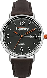Superdry Oxford Field Quartz Watch with Leather Strap, Brown, 20 (Model: SYG190BR