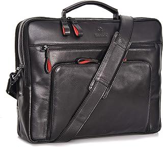 DONBOLSO Laptoptasche San Francisco 15,6 Zoll Leder I Umhängetasche für Laptop I Aktentasche für Notebook I Tasche für Damen und Herren Schwarz