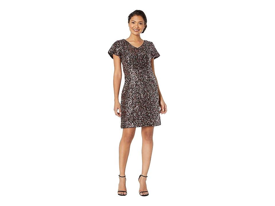 Vince Camuto Fluttered Short Sleeve Multi-Sequin Mesh V-Neck Dress (Sweet Coral) Women