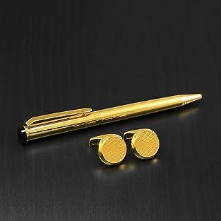 PEN & cufflink Stainless SteelS SET FOR MEN GOLD