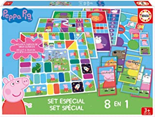 Educa - Set Especial 8 En 1 Peppa Pig: Juego de la oca Parchís Caracoles Carrera de caballos Tres en raya Escaleras y...