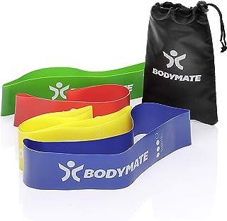 BODYMATE Fitnessbandenset met 4 sterktes en transporttas - 60 cm omtrek x 5 cm breedte - Gymnastiekbanden, band loops van ...
