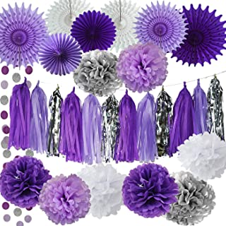 Bridal Shower Decorations Purple White Silver Tissue Pom Pom wth Amaranth Purple White Tissue Paper Fans for Lavender Baby Shower Decorations/Purple Birthday Party Decorations