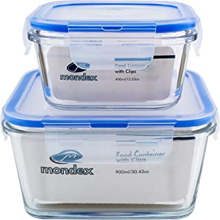 Mondex 2Pcs 400ml & 900ml Square Glass Food Storage Container with Blue Lid CMN0241-47