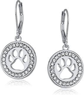 Silvertone/Crystal Paw Leverback Drop Earrings, Silver