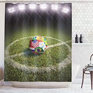 Ambesonne Sports Decor Collection, A Soccer Ball on a Soccer Field Printed Flags of the Participating Countries Image, Polyester Fabric Bathroom Shower Curtain Set with Hooks, Green White Red