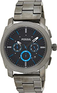 Fossil Machine Men's Grey Dial Stainless Steel Band Watch - FS4931