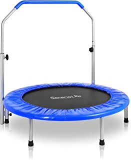 """SereneLife Portable & Foldable Trampoline - 40"""" in-Home Mini Rebounder with Adjustable Handrail, Fitness Body Exercise - SLSPT409"""