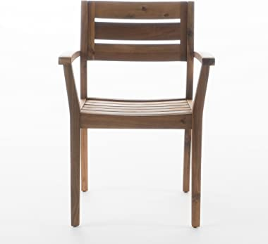 Christopher Knight Home Stamford Outdoor Acacia Wood Dining Chairs, 2-Pcs Set, Teak Finish