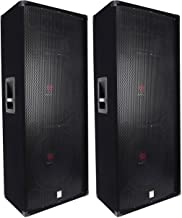 (2) Rockville RSG15.24 Dual 15 3000 Watt 3-Way 4-Ohm Passive DJ/PA Speaker