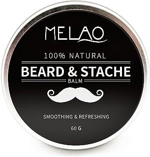 Premium Bartbalsam, 100% natürliches Bartwachs Beard Balm für Bartpflege und Styling mit Arganöl, Mangobutter und Bienenwachs, 60 g