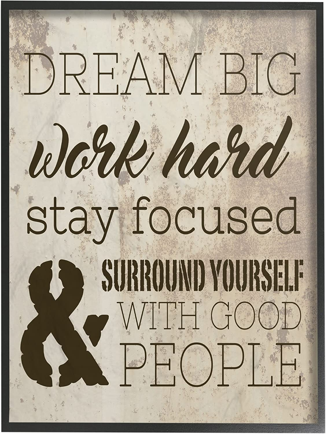 The Stupell Home Decor Collection Dream Big Work Hard Framed Giclee Texturized Art, 11 x 1.5 x 14, Proudly Made in USA