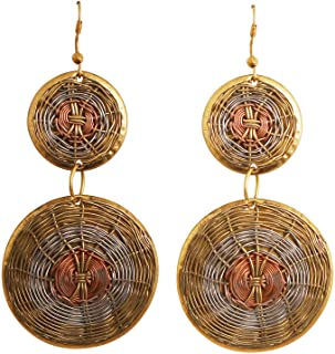 Touchstone Indian Bollywood Desire Finely Hand Finished Concentric Basket Weave Wire Pretty Look Designer Jewelry Earrings...