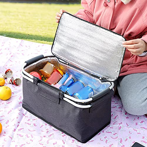 high quality RiamxwR Insulated Cooler Basket Portable Collapsible Picnic Cooling Basket with Folding Aluminum popular Handle Shopping Bag Basket for Groceries Outdoor Insulated Picnic Basket high quality for Travel, Shopping, Camping outlet sale