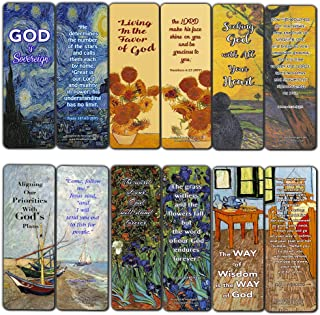 Wonderful Magnificent God Bible Verses Bookmarks (12 Pack) - Van Gogh Paintings for Men Women - Prayer Cards - War Room Decor - Encouragement Gifts - VBS Gifts