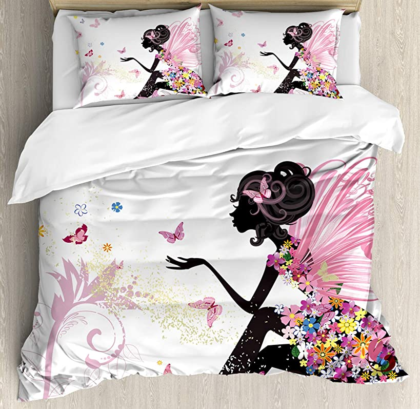 Ambesonne Fantasy Duvet Cover Set Queen Size, Fairy Girl with Wings in a Floral Dress Fantasy Garden Flying Butterflies, Decorative 3 Piece Bedding Set with 2 Pillow Shams, Pink White