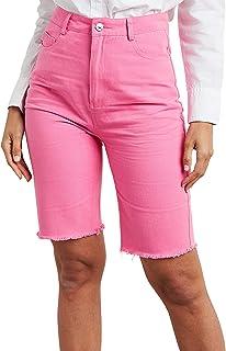 Longline Denim Shorts with Raw Hem Detail 80428316 For Women Closet by Styli