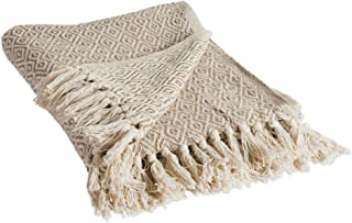 DII Rustic Farmhouse Cotton Diamond Blanket Throw with Fringe For Chair 50 x 60 inches Stone CAMZ10578