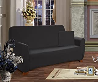 Elegance Linen Collection Luxury Soft Furniture Jersey Stretch SLIPCOVER, Sofa Black