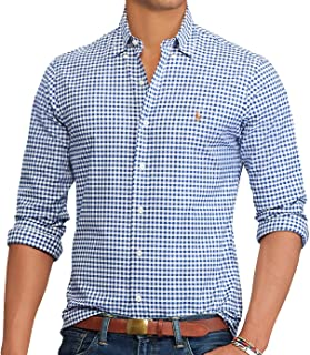 Mens Slim Fit Gingham Oxford Shirt, BSR Royal/White