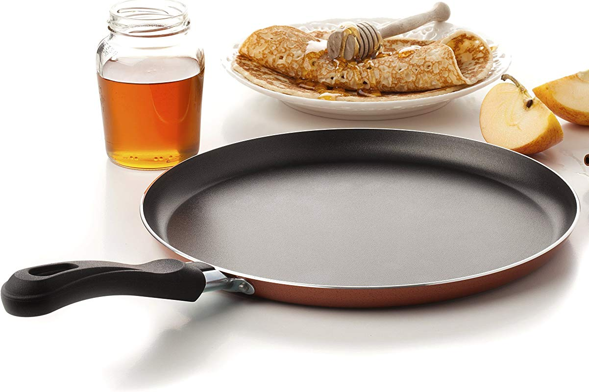 Large Crepe Pan 10 Inch Nonstick Coating And Bakelite Handle Easy Pancakes Omelette Fried Eggs Tortilla Pancake Pita Bread Cookware Best Crepes Pan Rounded Base Durable